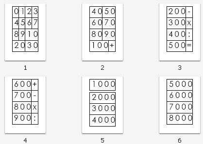 cartelli dei grandi numeri Montessori da 0 a 9000 neri