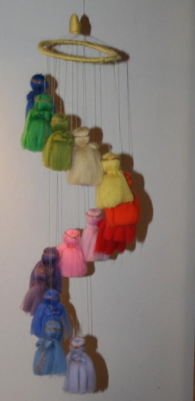 Mobile in lana cardata per la culla del neonato 28