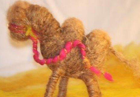 Asinello di lana cardata bue e cammello 2