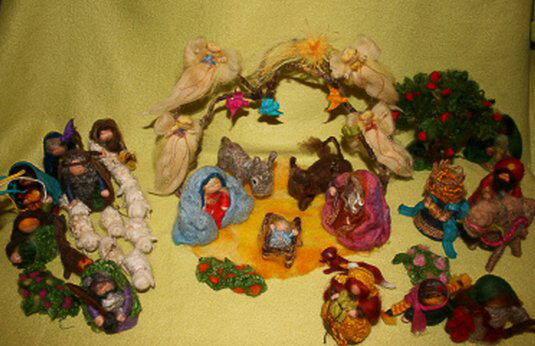 Presepe in lana cardata tutorial - Maria, Giuseppe, Gesù bambino, i pastori e i Re Magi 1