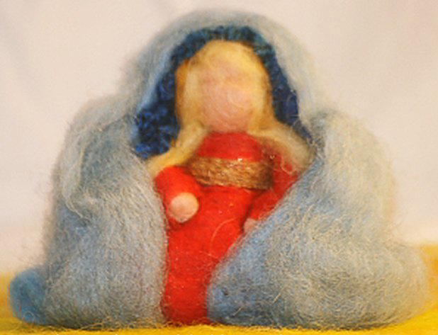 Presepe in lana cardata tutorial - Maria, Giuseppe, Gesù bambino, i pastori e i Re Magi 2