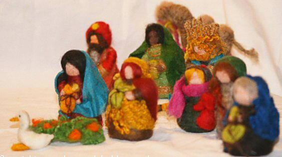 Presepe in lana cardata tutorial - Maria, Giuseppe, Gesù bambino, i pastori e i Re Magi 35