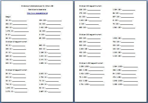 Moltiplicazioni e divisioni per 10 100 1000 di numeri interi