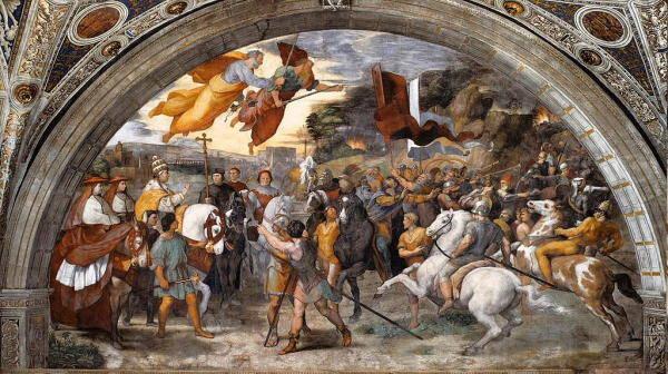 Incontro di Leone Magno e Attila affresco di Raffaello