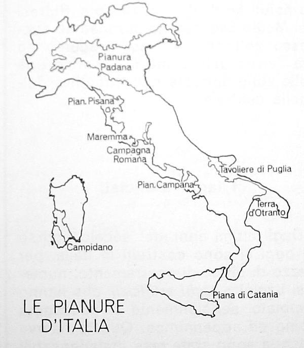 CARTINA ITALIA MUTA PIANURE
