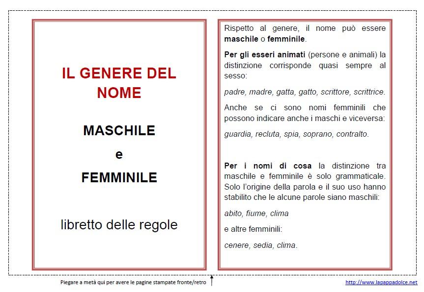 Psico grammatica montessori il genere del nome lapappadolce for Maschile e femminile esercizi