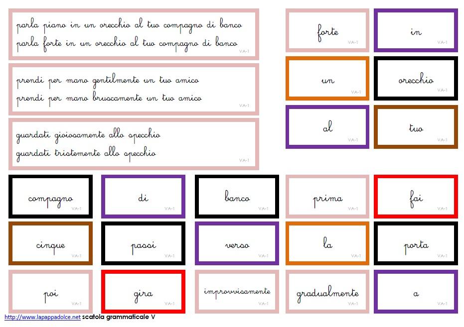 cartellini SCATOLA GRAMMATICALE V corsivo 19
