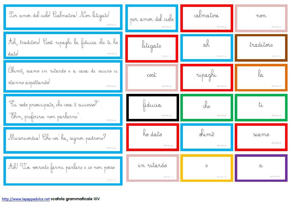 Cartellini Autoeducazione scatola VIiI - CORSIVO 2