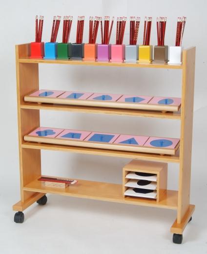 scaffale degli incastri metallici Montessori