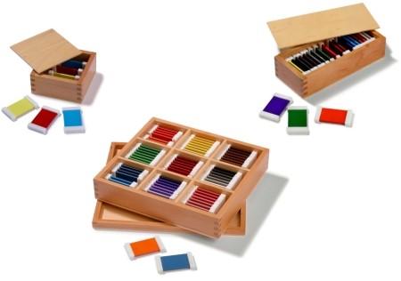 set di 3 serie di spolette dei colori Montessori