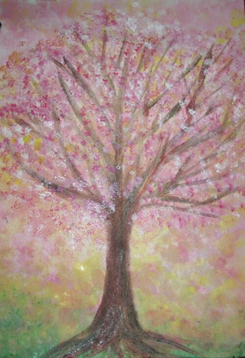 Acquarello steineriano la fioritura degli alberi da frutto