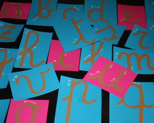 lettere smerigliate Montessori corsivo 4