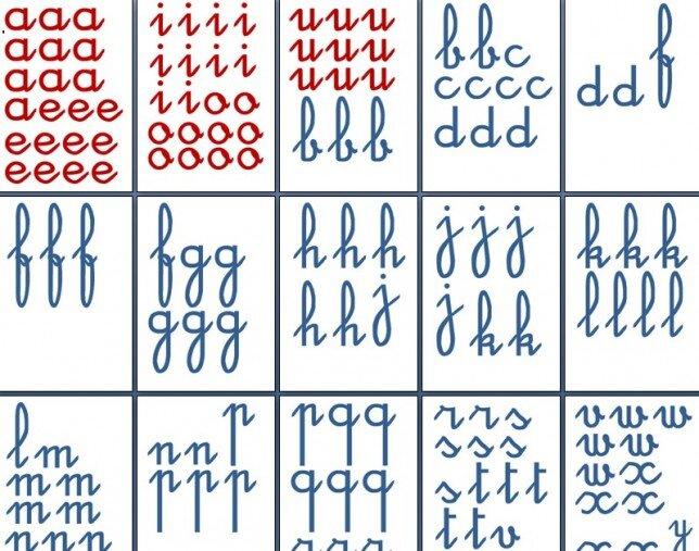 lettere smerigliate Montessori corsivo 7