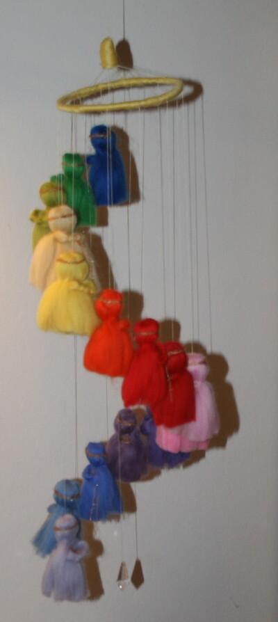 Mobile in lana cardata per la culla del neonato 27