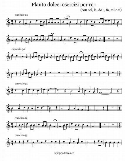 esercizi per flauto dolce con re alto