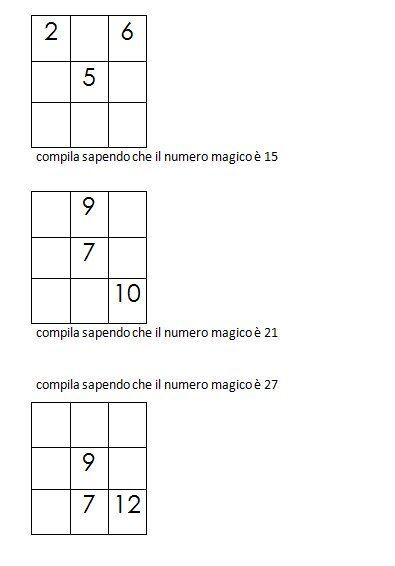 Quadrati magici da completare conoscendo il numero magico 1