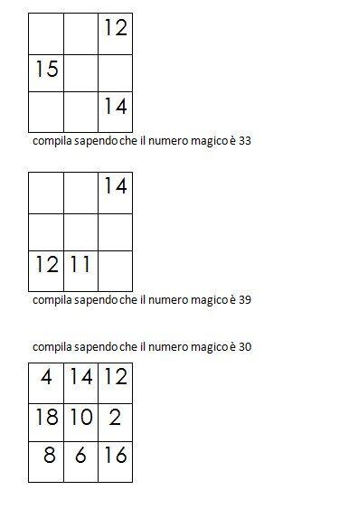 Quadrati magici da completare conoscendo il numero magico 3