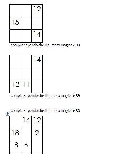 Quadrati magici da completare conoscendo il numero magico 4