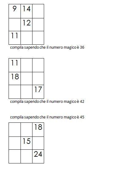 Quadrati magici da completare conoscendo il numero magico 5