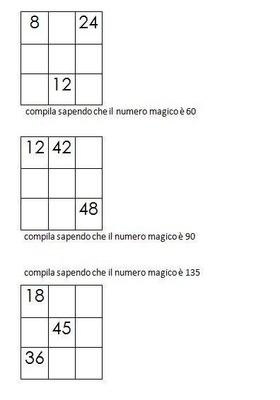 Quadrati magici da completare conoscendo il numero magico 6