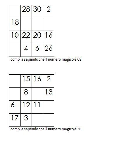 Quadrati magici da completare conoscendo il numero magico 8
