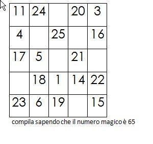 Quadrati magici da completare conoscendo il numero magico 9
