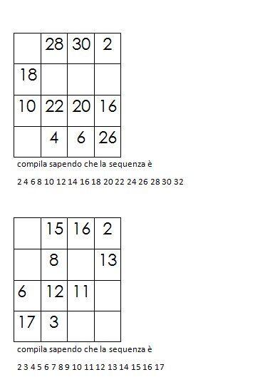 Quadrati magici da completare dovendo calcolare il numero magico 12