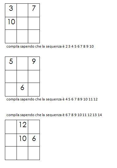 Quadrati magici da completare dovendo calcolare il numero magico 2