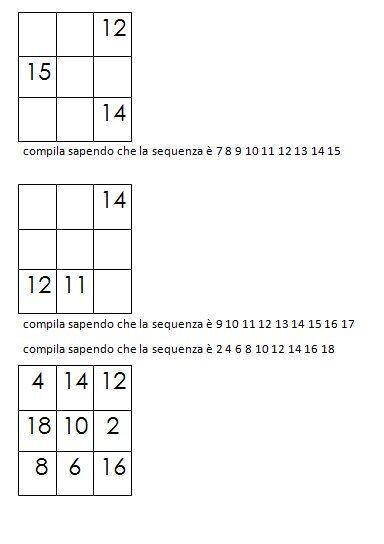 Quadrati magici da completare dovendo calcolare il numero magico 3
