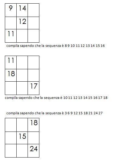 Quadrati magici da completare dovendo calcolare il numero magico 4
