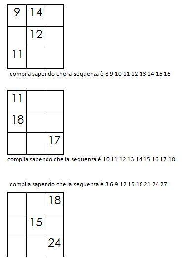 Quadrati magici da completare dovendo calcolare il numero magico 5