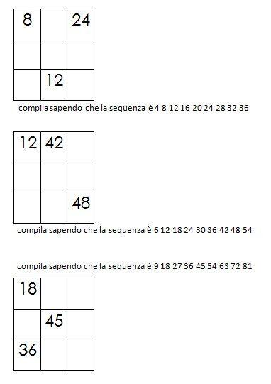 Quadrati magici da completare dovendo calcolare il numero magico 6