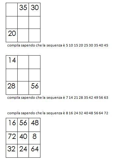 Quadrati magici da completare dovendo calcolare il numero magico 7