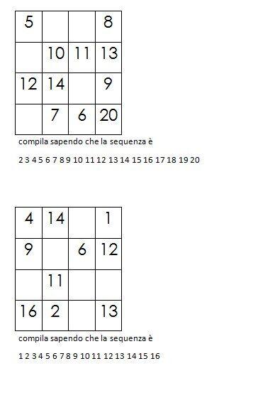Quadrati magici da completare dovendo calcolare il numero magico 8