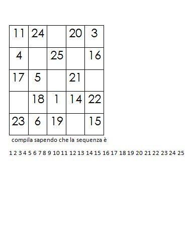 Quadrati magici da completare dovendo calcolare il numero magico 9