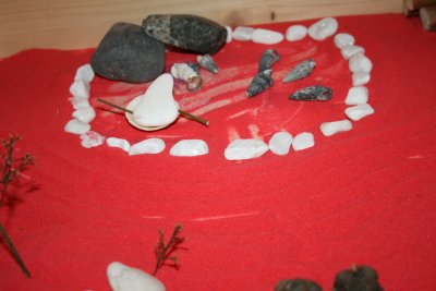 Sand boxes and natural autumn materials