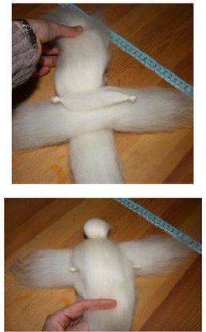 Angelo di lana cardata bianco - versione semplice 20