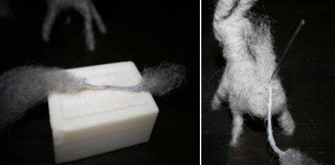 Asinello di lana cardata bue e cammello 16