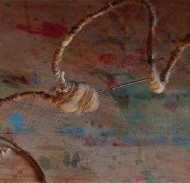 Presepe in lana cardata - capanna e stella cometa 6