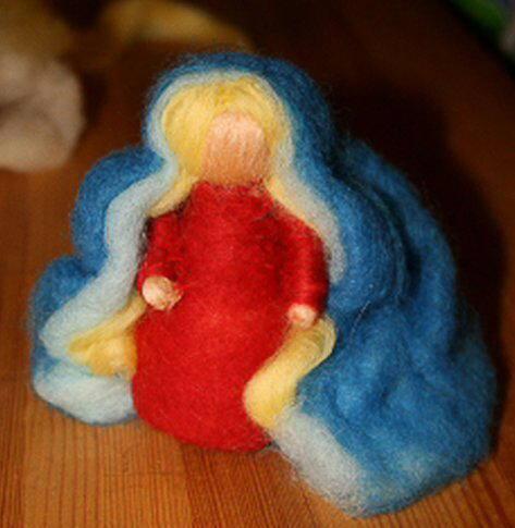 Presepe in lana cardata tutorial - Maria, Giuseppe, Gesù bambino, i pastori e i Re Magi 12