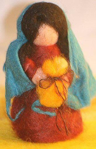 Presepe in lana cardata tutorial - Maria, Giuseppe, Gesù bambino, i pastori e i Re Magi 34