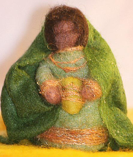 Presepe in lana cardata tutorial - Maria, Giuseppe, Gesù bambino, i pastori e i Re Magi 38