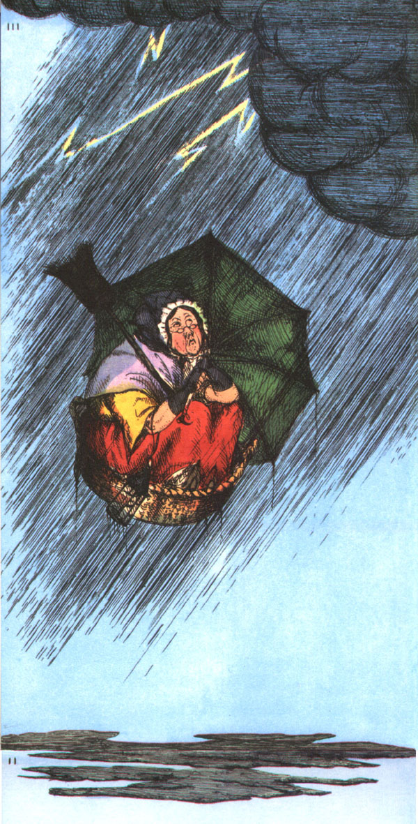 The flight of the old woman who was tossed up in a basket