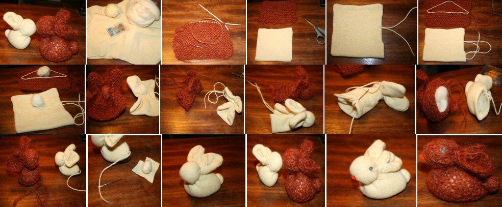 Tutorial coniglietto realizzato con un quadrato di maglia