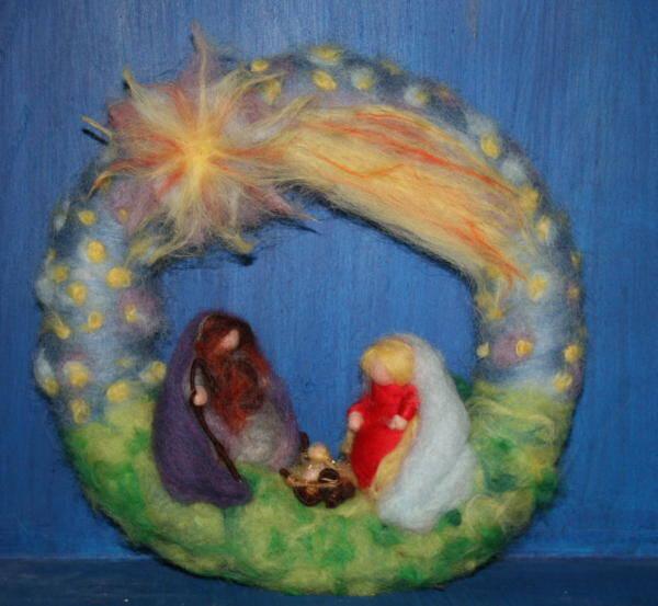 Lana cardata – ghirlanda natalizia