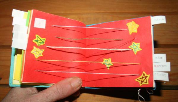 Creare libri per bambini – libro dei numeri con rilegatura giapponese e stelline