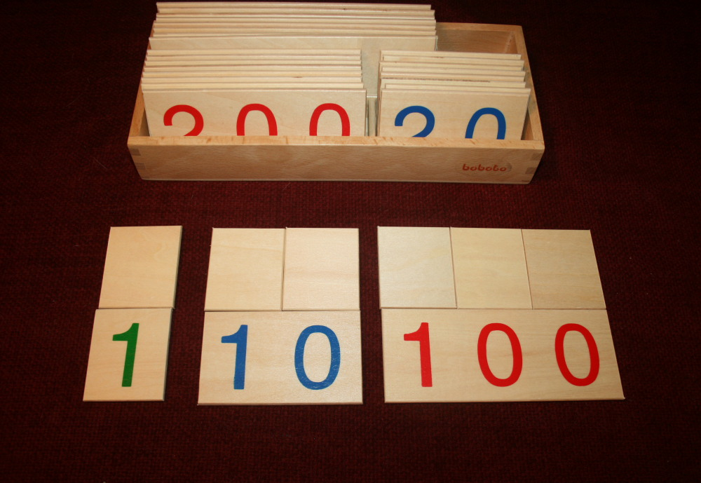 Psicoaritmetica Montessori - Esercizi coi cartelli dei numeri