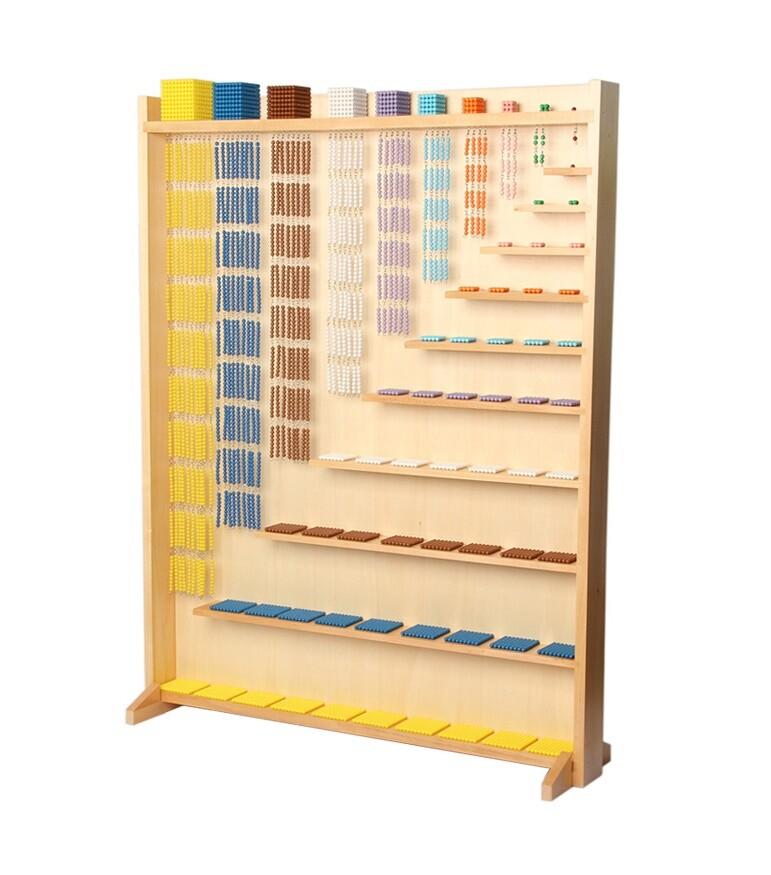 Quadrati e catene di perle colorate Montessori