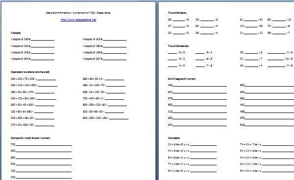 Esercizi di aritmetica numeri entro il 700 classe terza - Tavola pitagorica vuota da stampare ...