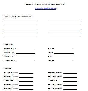 Esercizi di Aritmetica – numeri fino a 800 - classe terza